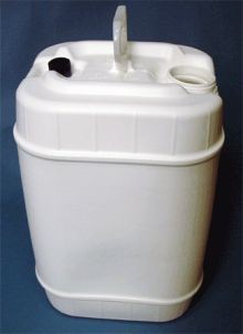 20 Liter Rectangular Closed-Head Plastic Pail - With Vent and TE Screw Cap Opening - White