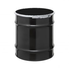 8 Gallon Steel Drum - UN-Rated Black With Quick-Lever Closure