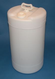 15 Gallon Closed-Head Plastic Drum - Natural With Swing Handle