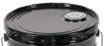 Lug Cover With Flexspout Opening - 5 Gallon Open-Head Steel Pail - Black