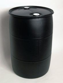 30 Gallon Closed-Head Plastic Drum - Black