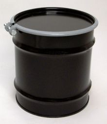 10 Gallon Open-Head UN-Rated Steel Drum - Black - Rust Inhibitor Interior