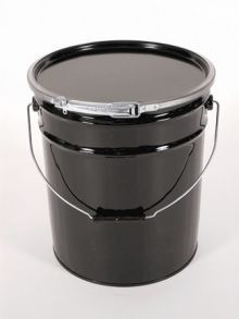 3 Gallon Open-Head Steel Pail With Plain Cover - Black