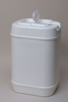6 Gallon Rectangular Closed-Head Plastic Pails - White