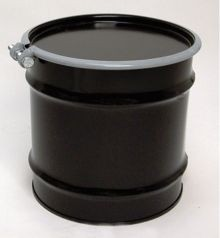 8 Gallon Open-Head UN-Rated Steel Drum - Black - Rust Inhibitor Interior