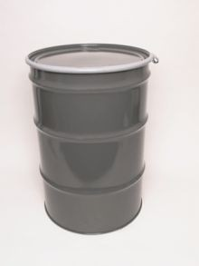 55 Gallon Open-Head UN-Rated Steel Drums - Grey - Rust Inhibitor Interior