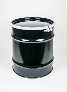 20 Gallon Open-Head UN-Rated Steel Drum - Black - Rust Inhibitor Interior