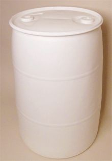 55 Gallon Closed-Head Plastic Drum - White