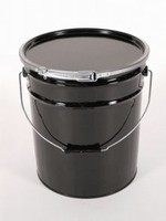 5 Gallon Open-Head Steel Pail and Cover - Black