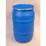55 Gallon Open-Head Plastic Drum - Blue - Plain Cover