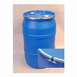 55 Gallon Open-Head Plastic Drum - Blue - Cover with Fittings