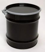 10 Gallon Open-Head UN-Rated Steel Drum - Black - Rust Inhibitor Interior