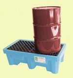 UltraTech Fluorinated Poly Spill Pallet - 2 Drum With Drain