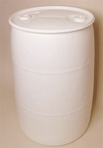 55 Gallon Closed-Head Plastic Drum - White