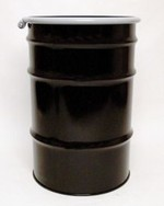 55 Gallon Open-Head UN-Rated Steel Drum - Black - Rust Inhibitor Interior