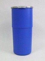 14 Gallon Open-Head Plastic Drum - Taper Sided - Blue - Plain Cover