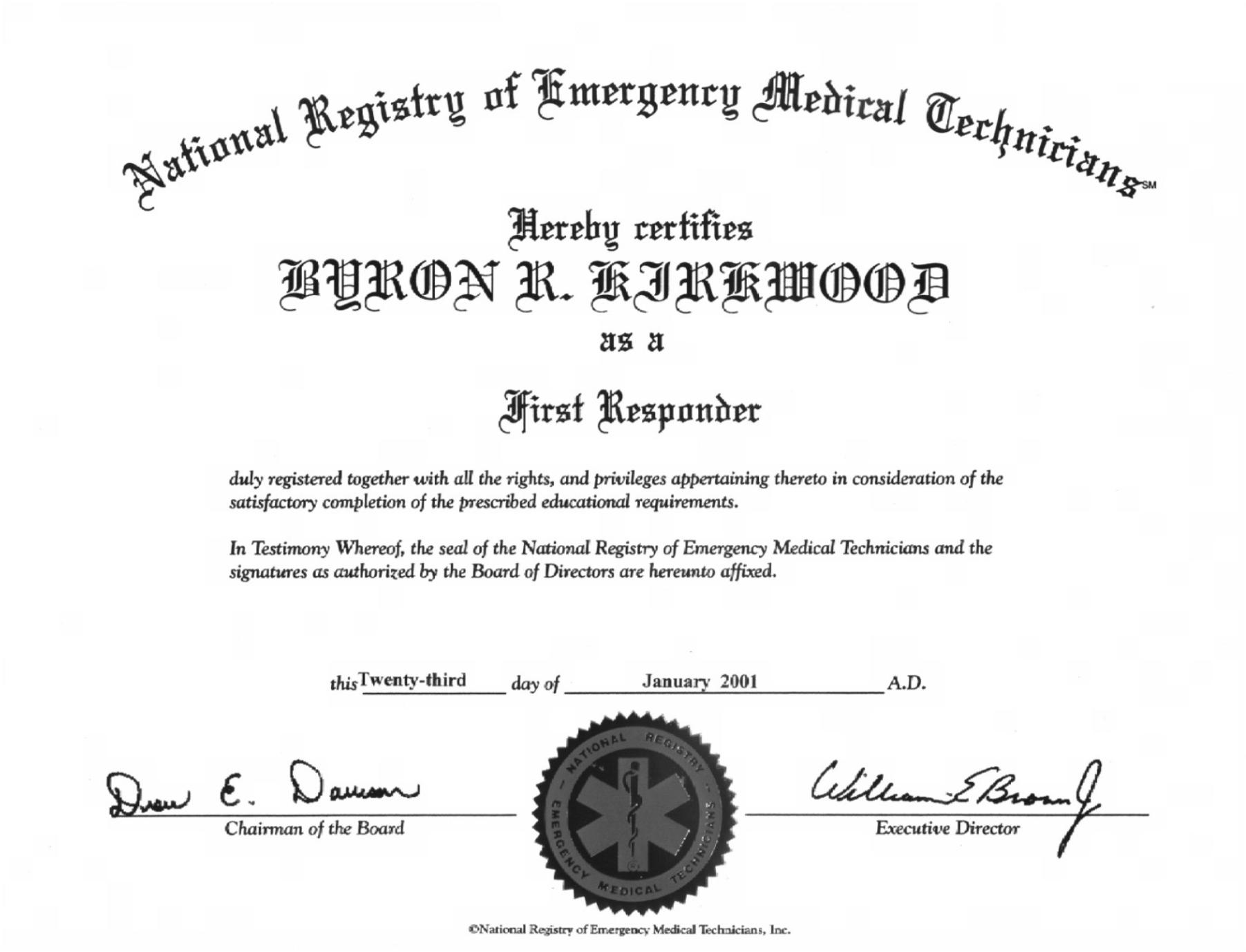 First Responder certificate