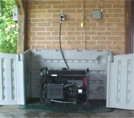 Generator in Rubbermaid enclosure open