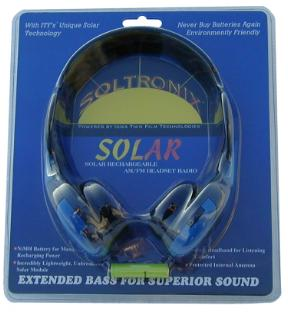 Soltronix Solar Rechargeable AM/FM Headset Radio in package