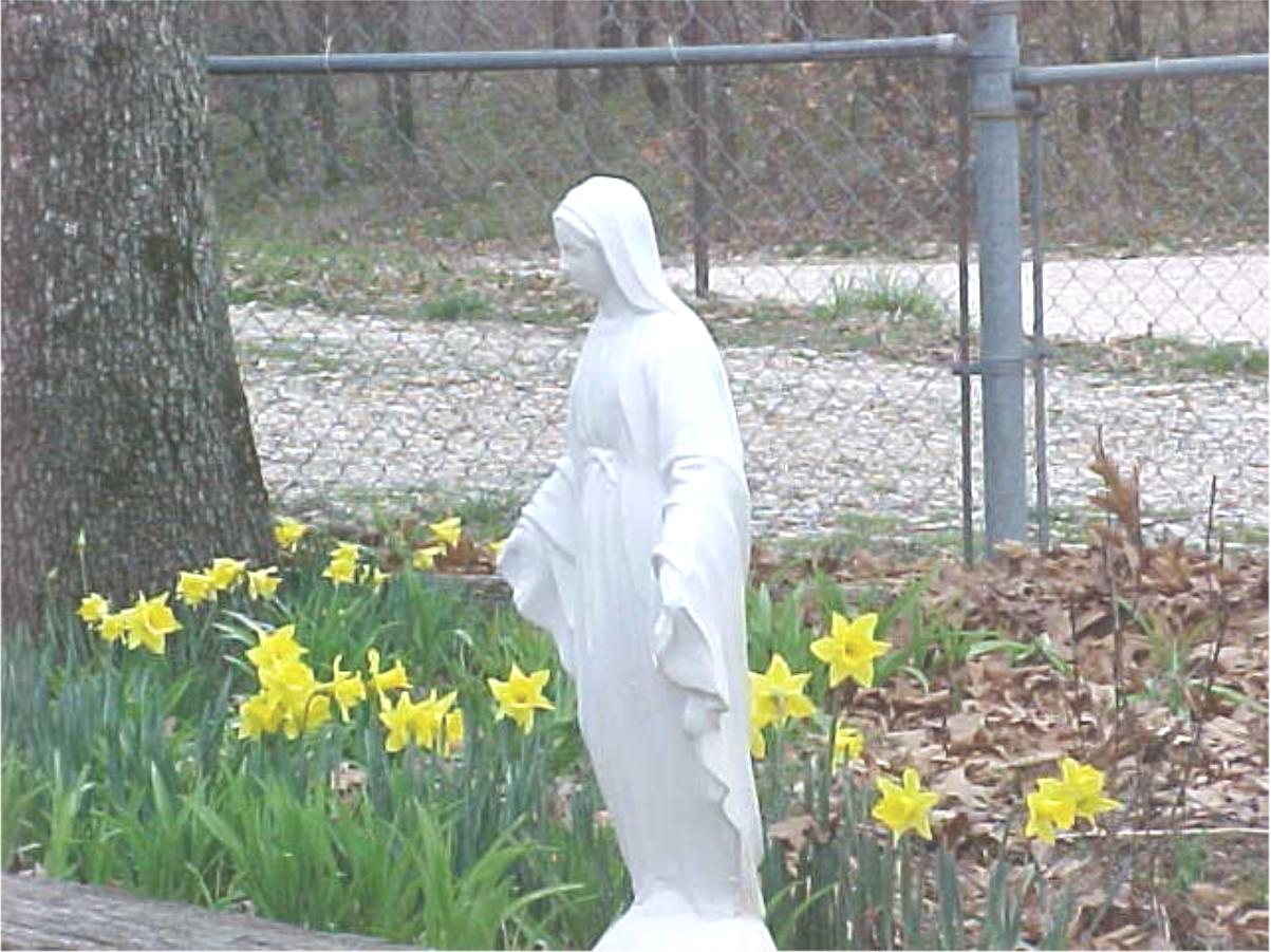 Mother Mary statue with yellow flowers